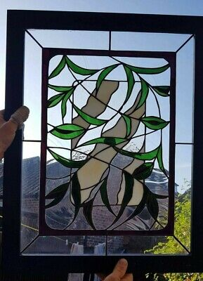 Contemporary Original Handmade Stained Glass Panel with frame