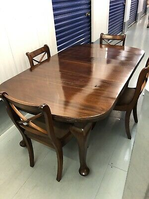Antique Edwardian Mahogany Dark Wood Dinning Table with Chairs (with Receipt)