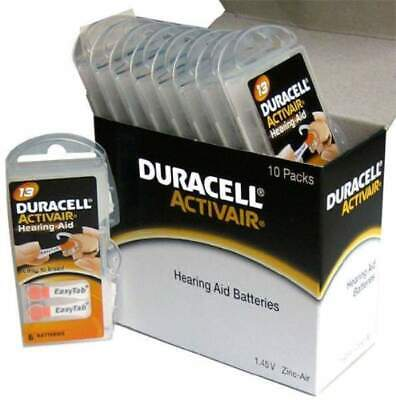 Duracell Activair Hearing Aid Batteries Size 13 (60 cells) 3 year shelf life