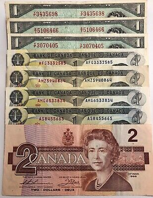 Lot of 8 circulated Canada Bank Notes 1986 $2, 4x 1973 $1, 3x 1954 $1
