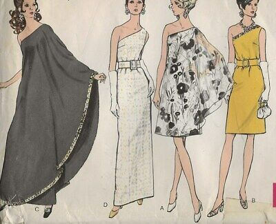 Vintage 1960s Off the Shoulder Evening Dress Vogue Pattern 7528 1960's Travel