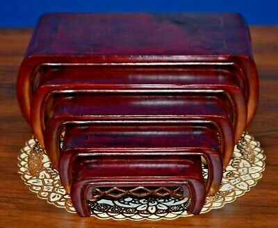 """Vintage Chinese Rosewood 5 Pc Nesting Tables/Stands 8"""" To 4"""" Asian Curio Plant"""