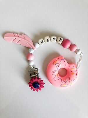 Baby Personalised Wooden Dummy Clip 💖Teether 💖 Donut 🍩 💖 Silicone