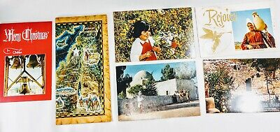 Holy Land SIX Vintage Christmas Cards With MOMENTOS