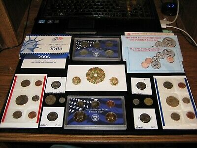 JUNK DRAWER BIG Coin Lot 1994 Mint Set 2006 PROOF Set VTG Weiss Brooch Set Green