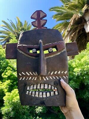 Antique African Art Wood Carved Tribal Ceremonial Mask From The Ivory Coast