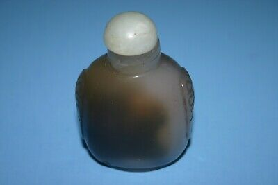 Beautiful Antique Vntg Japanese Chinese Carved Agate Form Glass Snuff Bottle