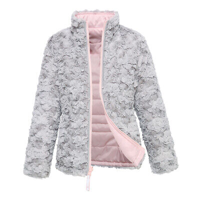 Girls' Lightweight Water Resistant Insulated Faux Fur Reversible Puffer Jacket