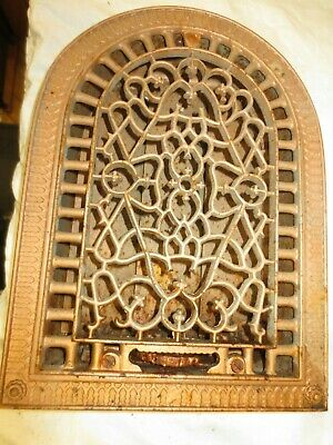 FINEST Gorgeous Cast Iron Victorian  Arched Wall Heat Register Grate w/Louvers 3