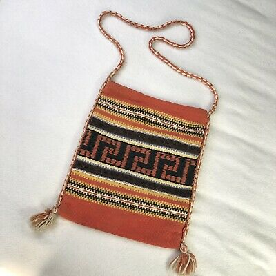 Vtg Southwest Western Woven Wool Cross Body Purse Native Aztec Bag Boho Hippie
