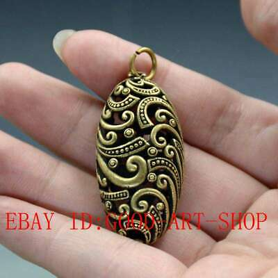 Chinese Old Pure Brass Oval Pattern Small Pendant Collectibles L47