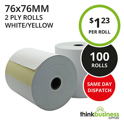 100 x 2 Ply 76x76mm White/Yellow Bond Paper Rolls for Kitchen Register Receipts