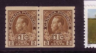CANADA MR7a MVFNH VERY SCARCE die I PASTE-UP PAIR IN YELLOW BROWN SHADE