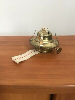 Brass Plated Oil Burner with Wick and Removable Screw on Collar