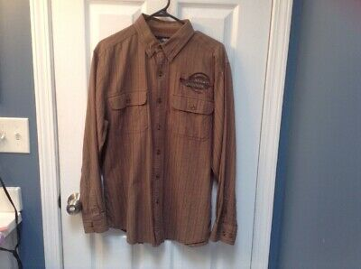 Harley Davidson Brown Striped Button Up Mens Long Sleeve Shirt Size Medium
