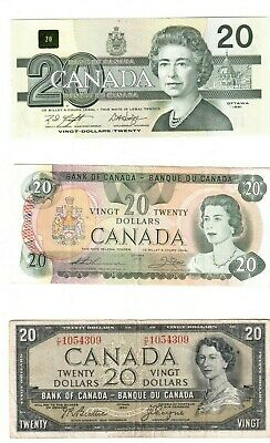 Canadian Twenty Dollar Bills 1954, 1979, 1991, 2004, 2012 Lot of Five Bills