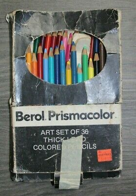 Vintage Berol Prismacolor Set of 33 Colored Pencils #954 Thick Lead Used