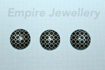 2 x Black & White Mosaic 12x12mm Glass Cabochons Cameo Dome Tile