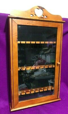 24 Souvenir Spoon Display Case Glass Door Wood Heart Cut Out Vintage 24 in high