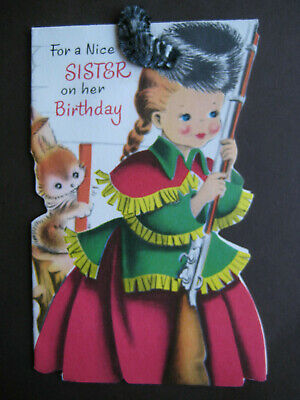 1950s vintage greeting card Norcross BIRTHDAY To Sister Girl w/ Coon Skin Cap