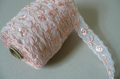 Embroidered Swiss Lace. Vintage. Organza. Pink. 2 Metres