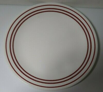 Corelle Ruby Red & Dotted Lines Dinner Plate Replacement Discontinued Vgc