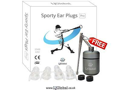 Sporty Ear Plugs-Highest 27dB NRR-Reusable Noise Reduction Earplugs for Sports