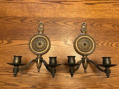 Antique Brass (19Th Century) Gas Lighted Wall Sconces