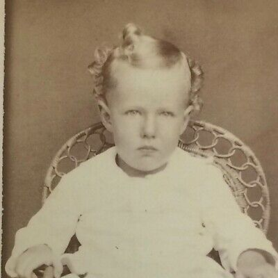 Cute Blonde Child in a Wicker Chair - Norwich, New York  -  Antique Photo CDV
