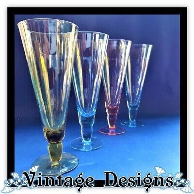 Retro Campagne Glasses FLUTE x 4 Harlequin Colours Blue Toffee Pink set of 4