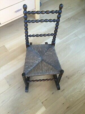 A Victorian Child's Bobbin Turned Wood Rocking Chair