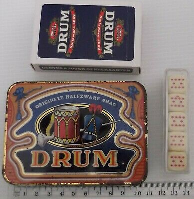 Vintage Collectable Drum Tobacco Tin Playing Cards Dice Bridge Man Cave Display