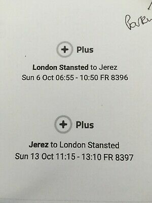 2 x return flight tickets from London Stanstead to Jerez Sun 6th-13th Oct 2019