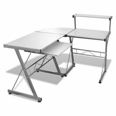 Corner Metal Pull Out Desk Top Shelf Student Study Computer Table Office - White