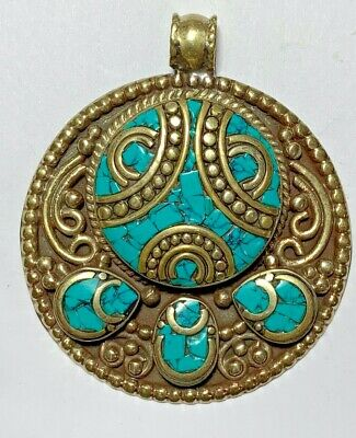 HUGE LATE MEDIEVAL SILVER PENDANT Turquoise Coral Turtle VERY RARE 46.4gr 53mm