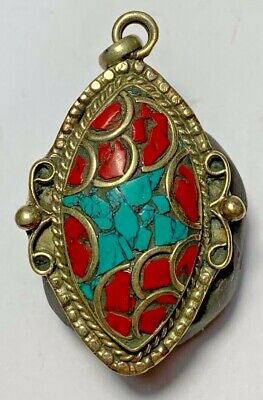 LATE MEDIEVAL SILVER PENDANT Turquoise Coral Turtle RARE 13.3gr 46mm