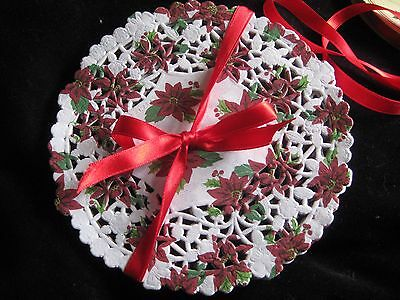 """6"""" Inch Poinsettia Red White Flower Lace Paper Doily Craft Round 25 Pcs"""