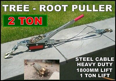 Tree Root Puller Stump Post Fence Ratcheting Garden Winch Lifter Workshop