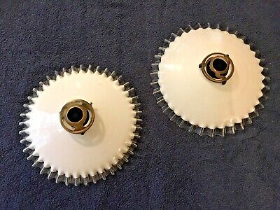 Pretty French Vintage Opaline Fluted Glass Coolie Shades + original galleries