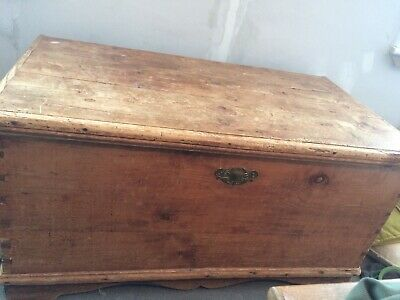 Beautiful  Antique Victorian Vintage Old Pine Chest  Wooden Trunk  Blanket Box