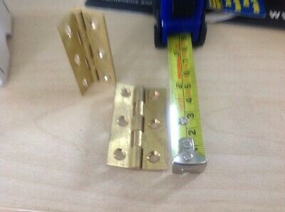 "1 box  10 pair 1/2"" SOLID drawn BRASS HINGES 2"" x 1"" x1/8"""