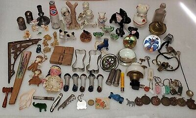 Vintage Junk Drawer Lot Knife Miniatures Art Glass Paper Weights Dolls Keychains