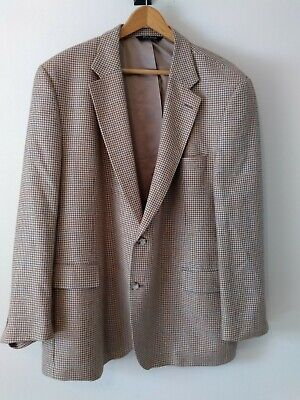 Jos A Bank Wool Silk Linen 48R Houndstooth Mens Suit Sport Jacket Blazer