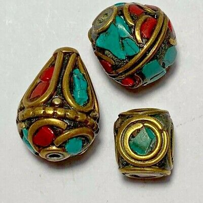LOT OF 3 pcs LATE MEDIEVAL SILVER BEADS GOLDPLATED - COLORED PENDANT very nice