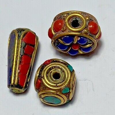 LOT OF 3 pcs LATE MEDIEVAL SILVER BEADS GOLDPLATED - RARE STONES PENDANT