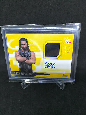 2017 Topps WWE Undisputed Seth Rollins Patch Auto Gold #/10