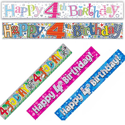 Happy 4th Birthday Holographic Foil 9ft Banner Boys Girls Party Decoration Age 4