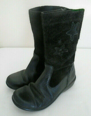 CLARKS Girls Suede Leather Boots Size 11 F Black Side Zips Stars Motif