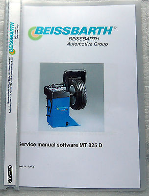 Service manual software in English for the Beissbarth 825-D/balancing machines