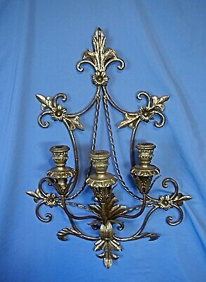 ITALIAN FLORENTINE ANTIQUE GOLD METAL 3 CANDLE SCONCE - 27 inch